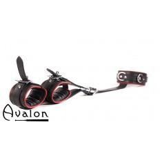 Avalon - SOVEREIGN - Collar og cuffs sett, sort og rødt