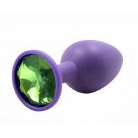 BQS - Lilla Silikonbuttplug med Krystall - Grønn - Liten