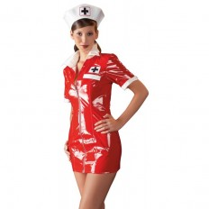 Black Level - Sykepleieruniform i Rød Lakk