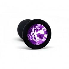 BQS - Svart Silikonbuttplug med Lilla Krystall - Liten