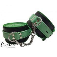 Avalon - Sengekos -  Changeling - Polstrede Fotcuffs - Sort og Grønn